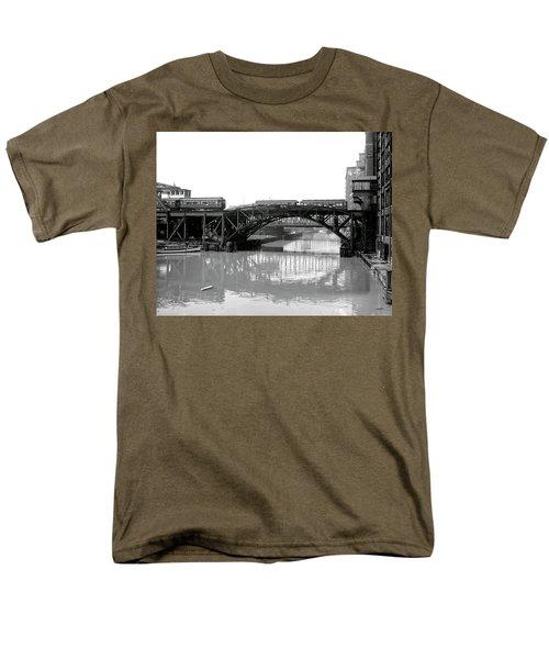 Men's T-Shirt  (Regular Fit) featuring the photograph Trains Cross Jack Knife Bridge - Chicago C. 1907 by Daniel Hagerman
