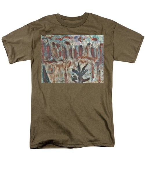 Men's T-Shirt  (Regular Fit) featuring the painting Tree Facing Frozen Lake With Roiling Storm Clouds Rolling In From The Mountain Range Winter With Fal by MendyZ