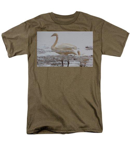 Trumpeter Swan Reflection Men's T-Shirt  (Regular Fit) by Karen Molenaar Terrell