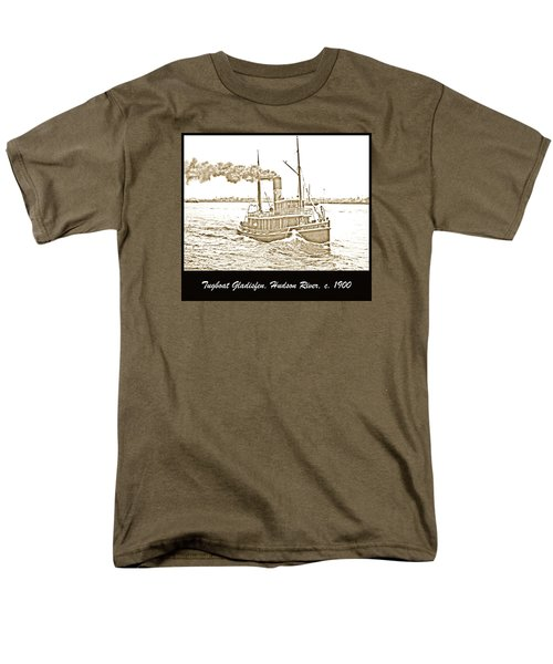 Men's T-Shirt  (Regular Fit) featuring the photograph Tugboat Gladisfen Hudson River C 1900 Vintage Photograph by A Gurmankin