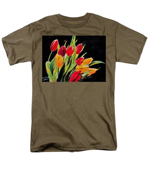 Tulips Colors Men's T-Shirt  (Regular Fit) by Khalid Saeed