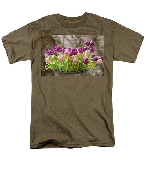 Men's T-Shirt  (Regular Fit) featuring the photograph Tulips In A Bucket by Patricia Hofmeester
