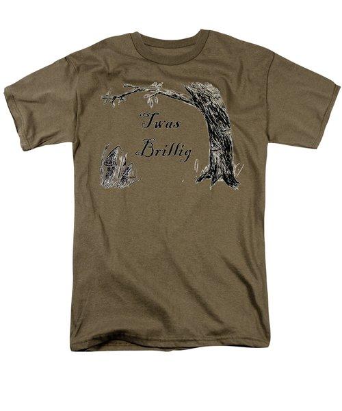 Twas Brillig Jabberwocky Alice In Wonderland Quote Poem Men's T-Shirt  (Regular Fit) by Dotti Price