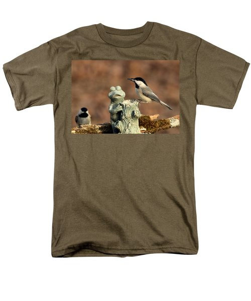 Two Black-capped Chickadees And Frog Men's T-Shirt  (Regular Fit) by Sheila Brown