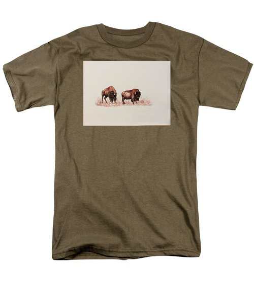 Two Grumpy Bisons  Men's T-Shirt  (Regular Fit) by Ellen Canfield