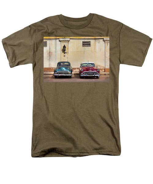 Men's T-Shirt  (Regular Fit) featuring the photograph Two Old Vintage Chevys Havana Cuba by Charles Harden