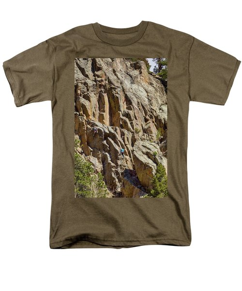 Men's T-Shirt  (Regular Fit) featuring the photograph Two Rock Climbers Making Their Way by James BO Insogna