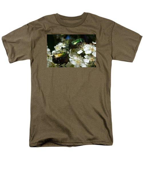 Men's T-Shirt  (Regular Fit) featuring the photograph Two Scarabs Metallic Green by Jean Bernard Roussilhe