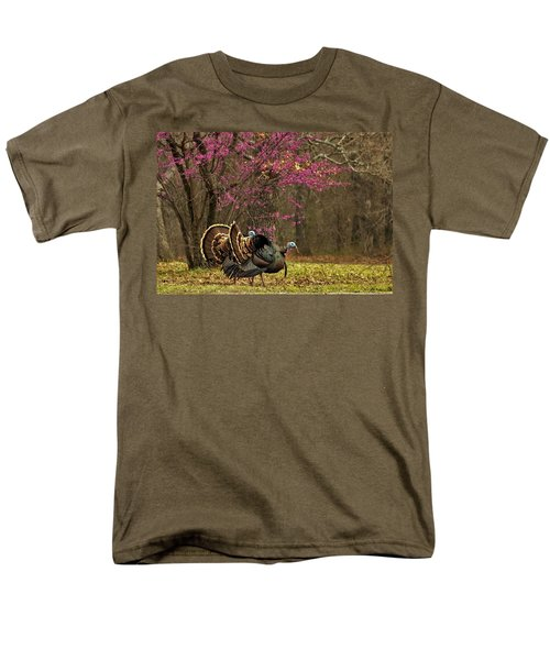 Two Tom Turkey And Redbud Tree Men's T-Shirt  (Regular Fit) by Sheila Brown
