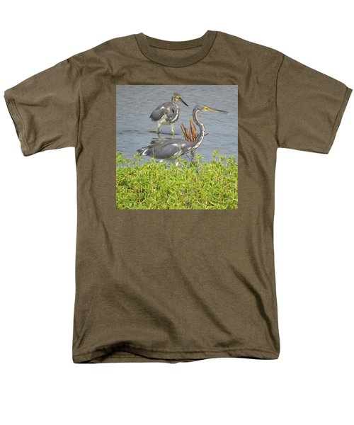 Two Tri Colored Herons Men's T-Shirt  (Regular Fit) by Phyllis Beiser