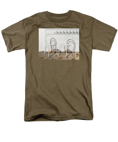 Men's T-Shirt  (Regular Fit) featuring the photograph Two White Chairs And Autumn Wind by Gary Slawsky