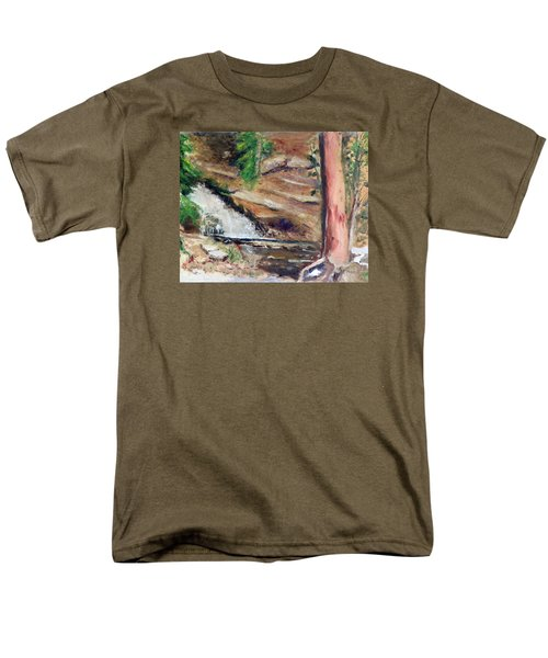 Men's T-Shirt  (Regular Fit) featuring the painting Upper Provo River Falls by Sherril Porter