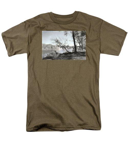 Vergennes Falls Digital Charcoal Men's T-Shirt  (Regular Fit) by Rena Trepanier