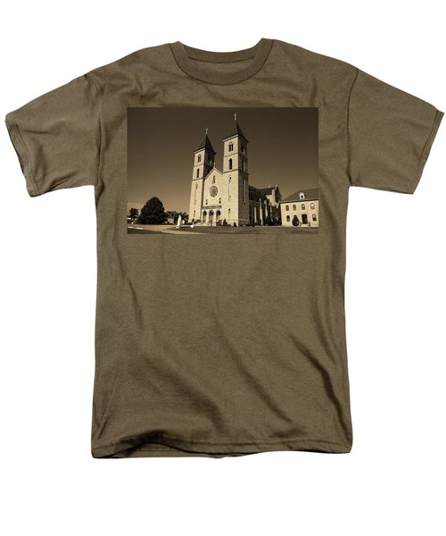 Men's T-Shirt  (Regular Fit) featuring the photograph Victoria, Kansas - Cathedral Of The Plains Sepia 6 by Frank Romeo