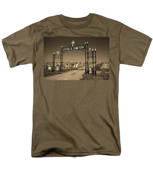 Men's T-Shirt  (Regular Fit) featuring the photograph Victoria, Kansas - St. Fidelis Cemetery Sepia by Frank Romeo