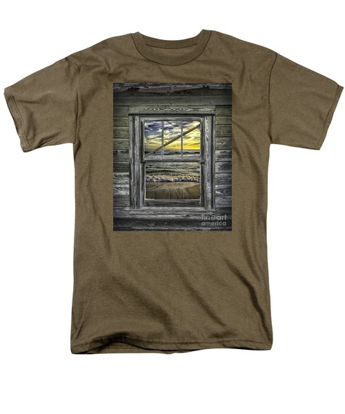 View From Weathered Beach Cottage Men's T-Shirt  (Regular Fit) by Walt Foegelle