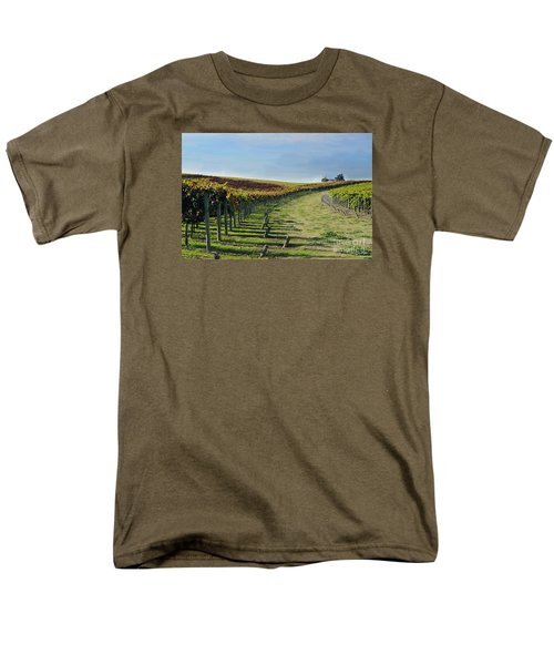 Men's T-Shirt  (Regular Fit) featuring the photograph Vineyard Shadows Livermore by Haleh Mahbod