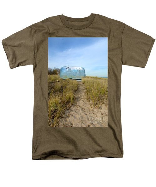 Vintage Camping Trailer Near The Sea Men's T-Shirt  (Regular Fit) by Jill Battaglia