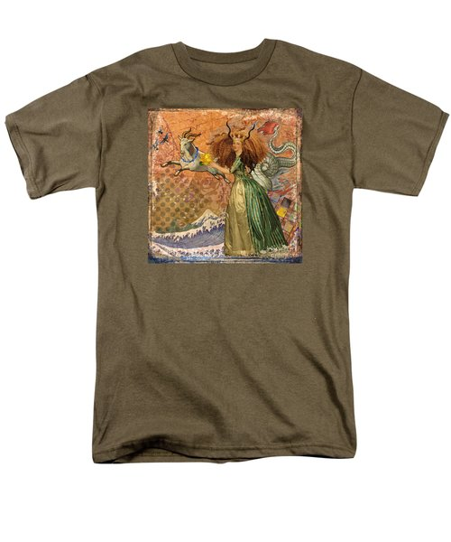 Vintage Golden Woman Capricorn Gothic Whimsical Collage Men's T-Shirt  (Regular Fit) by Mary Hubley
