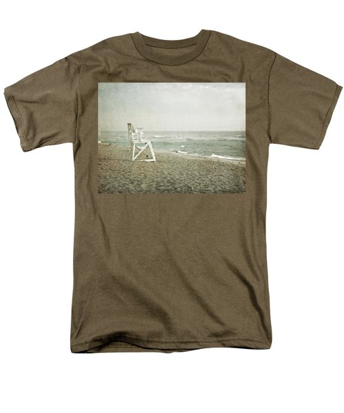 Vintage Inspired Beach With Lifeguard Chair Men's T-Shirt  (Regular Fit) by Brooke T Ryan