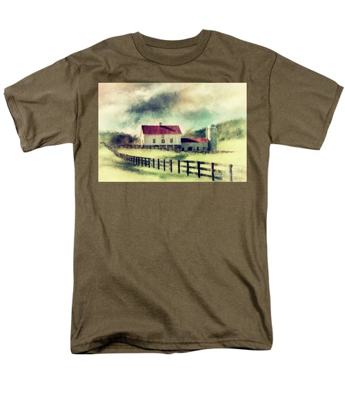 Men's T-Shirt  (Regular Fit) featuring the digital art Vintage Red Roof Barn by Lois Bryan