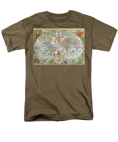 Men's T-Shirt  (Regular Fit) featuring the photograph Vintage World Map by Peggy Collins