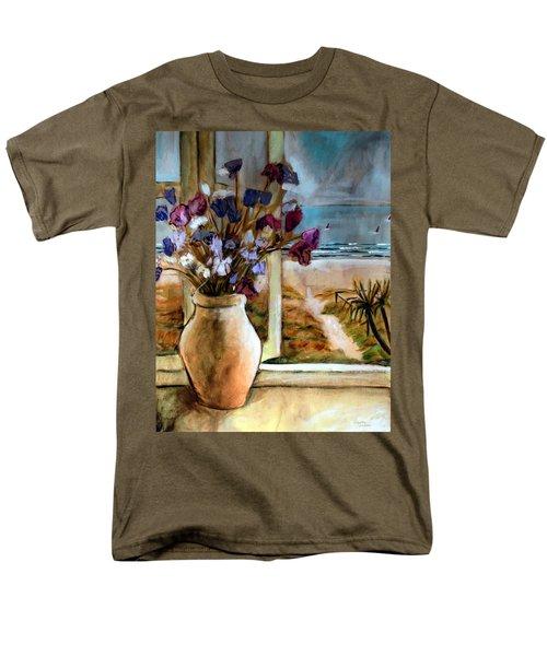 Violet Beach Flowers Men's T-Shirt  (Regular Fit) by Winsome Gunning