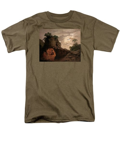 Men's T-Shirt  (Regular Fit) featuring the painting Virgil's Tomb By Moonlight With Silius Italicus Declaiming by Joseph Wright of Derby