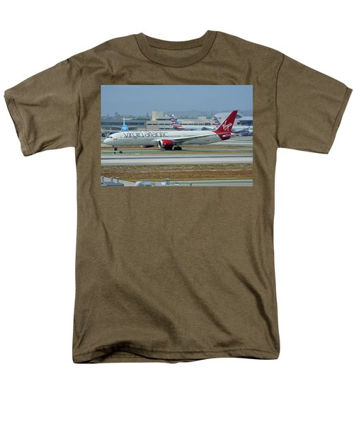 Men's T-Shirt  (Regular Fit) featuring the photograph Virgin Atlantic Boeing 787-9 G-vzig Los Angeles International Airport May 3 2016 by Brian Lockett