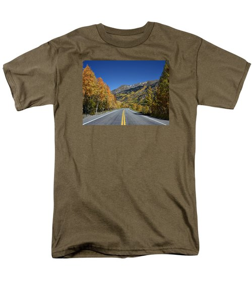 Vivid Fall Colors On The Million-dollar Highway In San Juan County In Colorado  Men's T-Shirt  (Regular Fit) by Carol M Highsmith