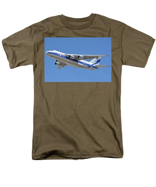 Men's T-Shirt  (Regular Fit) featuring the photograph Volga-dnepr An-124 Ra-82068 Take-off Phoenix Sky Harbor June 15 2016 by Brian Lockett