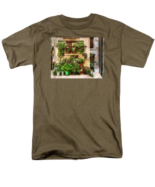 Men's T-Shirt  (Regular Fit) featuring the photograph Wall Of Flowers by Uri Baruch