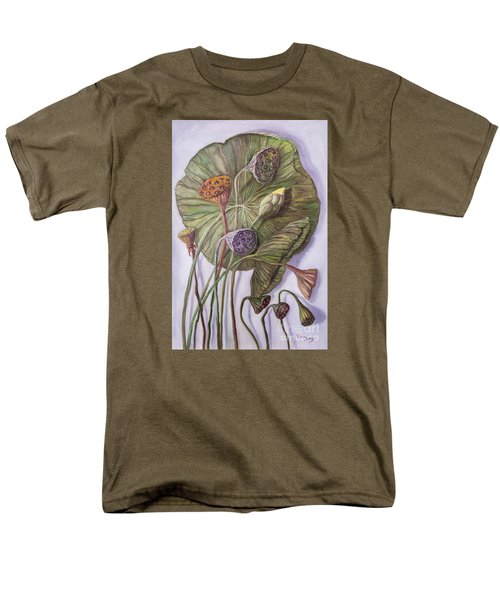 Water Lily Seed Pods Framed By A Leaf Men's T-Shirt  (Regular Fit) by Randy Burns