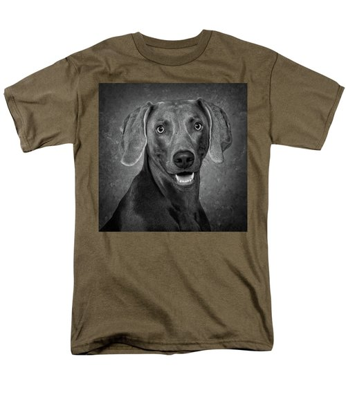 Men's T-Shirt  (Regular Fit) featuring the photograph Weimaraner In Black And White by Greg Mimbs