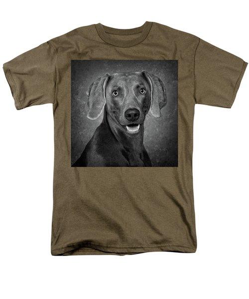 Weimaraner In Black And White Men's T-Shirt  (Regular Fit) by Greg Mimbs
