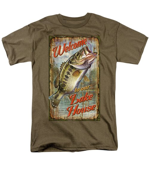 Men's T-Shirt  (Regular Fit) featuring the painting Welcome Lake House Sign by Jon Q Wright