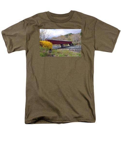 West Cornwall Ct Covered Bridge Men's T-Shirt  (Regular Fit) by Glenn Gordon