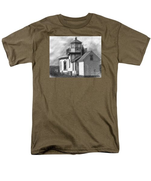 Men's T-Shirt  (Regular Fit) featuring the digital art West Point Lighthouse Sketched by Kirt Tisdale
