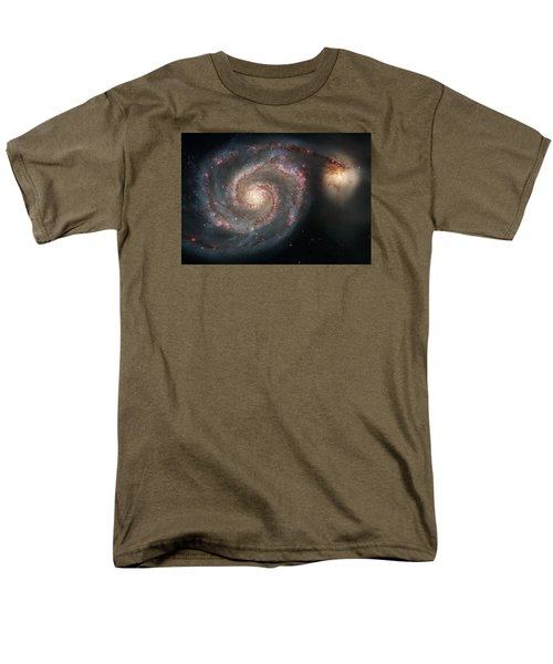Whirlpool Galaxy And Companion  Men's T-Shirt  (Regular Fit) by Hubble Space Telescope
