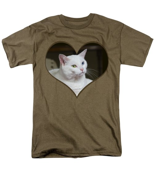White Cat On A Transparent Heart Men's T-Shirt  (Regular Fit) by Terri Waters