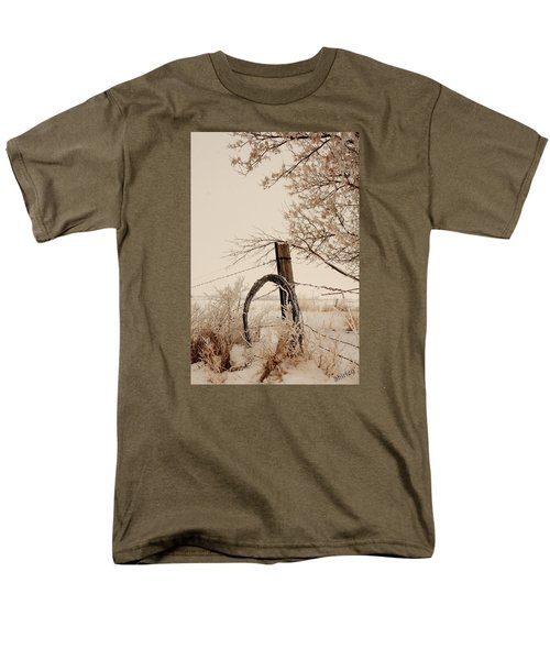 Men's T-Shirt  (Regular Fit) featuring the photograph White Fence by Shirley Heier