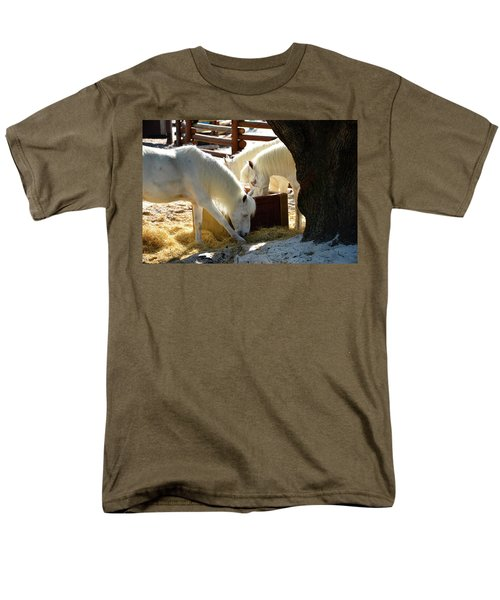 Men's T-Shirt  (Regular Fit) featuring the photograph White Horses Feeding by David Lee Thompson
