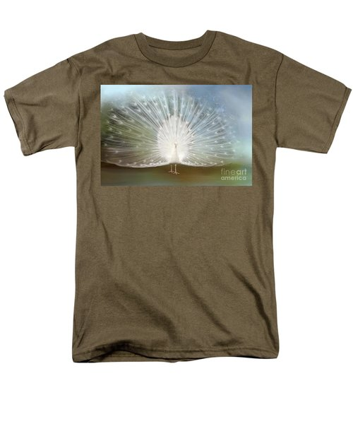 Men's T-Shirt  (Regular Fit) featuring the photograph White Peacock In All His Glory by Bonnie Barry