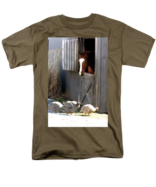 Men's T-Shirt  (Regular Fit) featuring the photograph Why Did The Guinea Hen Cross The Road by Angela Rath