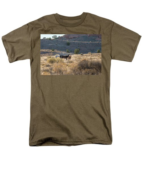 Men's T-Shirt  (Regular Fit) featuring the photograph Wild Horses In Monument Valley by Jon Glaser