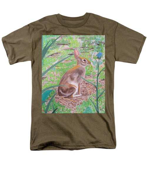 Men's T-Shirt  (Regular Fit) featuring the painting Wild Rabbit by Hilda and Jose Garrancho