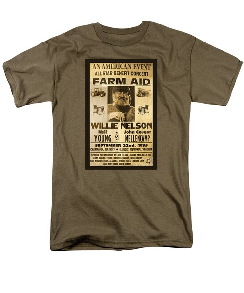Willie Nelson Neil Young 1985 Farm Aid Poster Men's T-Shirt  (Regular Fit) by John Stephens