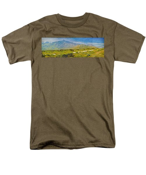 Men's T-Shirt  (Regular Fit) featuring the photograph Wind Turbine Farm Palm Springs Ca by David Zanzinger
