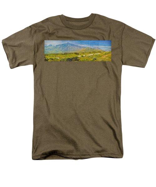 Men's T-Shirt  (Regular Fit) featuring the photograph Wind Turbine Farm Palm Springs Ca by David Zanzinger
