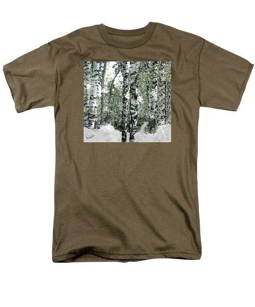 Men's T-Shirt  (Regular Fit) featuring the digital art Winter Birches by Walter Chamberlain